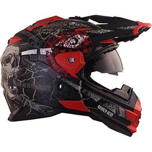 Broken Head Road Pirate Cross-Helm mit Visier | Endurohelm - MX Motocross Helm mit Sonnenblende - Quad-Helm Größe M (57-58 cm) - 5