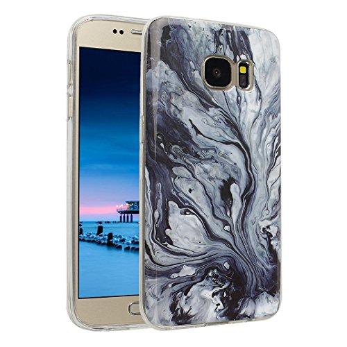 Handyhülle Galaxy S7 Marmor, Asnlove Silkon Galaxy S7 G930 Marble Hülle Silicone TPU mit IMD Schale Case Cover Tasche Schutzhülle für Samsung Galaxy S7 G930F, Blau Color-6