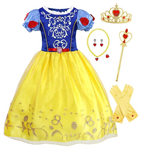 Schneewittchen/Rotkäppchen Kostüm Kleid Kinder Mädchen Verkleidung Schick Party Kleider Halloween Karneval Cosplay Geburtstag Ankleiden Kleidung mit Kap ()