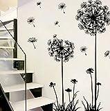 Wandtattoo Löwenzahn Pusteblume 130x80 cm Wandaufkleber Wohnzimmer Schlafzimmer Treppe Wandsticker Pflanzen zum Kleben Blumen Pflanzenmotiv Sticker Natur Wanddeko
