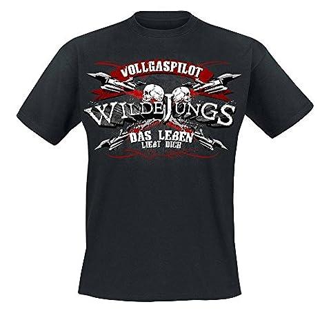Wilde Jungs - Vollgaspilot T-Shirt, schwarz, Grösse S