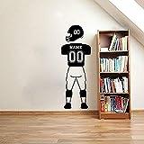 zhuziji Nome Personalizzato e Numeri Football Player Stickers murali Sport Jersey Pantaloni Uniformi e Casco Adesivi murali in Vinile per Bambini Ro Coffee Color 40X108cm