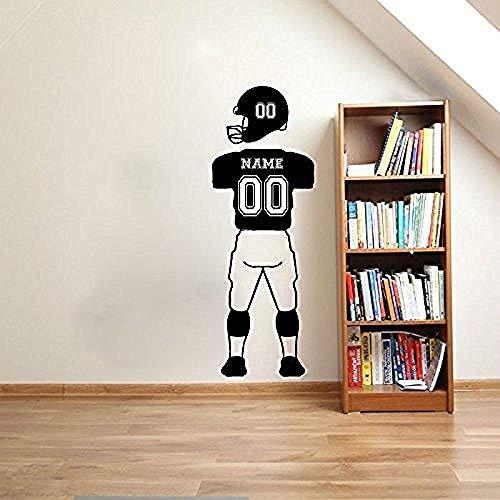 zhuziji Nome Personalizzato e Numeri Football Player Stickers murali Sport Jersey Pantaloni Uniformi e Casco Adesivi murali in Vinile per Bambini Ro caffè Colore 48x130cm