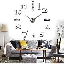 DIY Reloj de Pared 3D Moderno Extraíble Creativo con Números Adhesivos de Acrílico para la Decoración Adorno de hogar (Plata)
