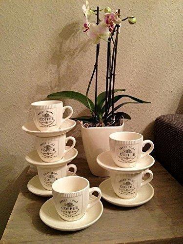 4 x Vintage Landhaus Kaffeetasse Tasse mit Untertasse French Antik Shabby Chic