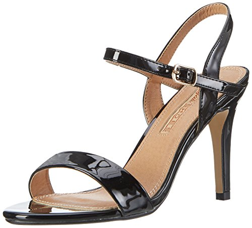 Buffalo Shoes Damen 314258 Patent PU GM S111 1 Knöchelriemchen, Schwarz (Black 01), 38 EU (Pu Fashion-sandalen Damen)