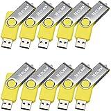 MECO 10pz 32GB USB 2.0 Flash Drive Memory Stick Penna USB Fold Girevole Chiavetta Memoria Gialla