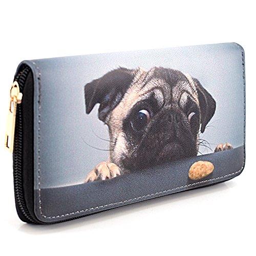 Geldbörse Hund - Mops, Reißverschluss, Damen/Kinder Portemonnaie