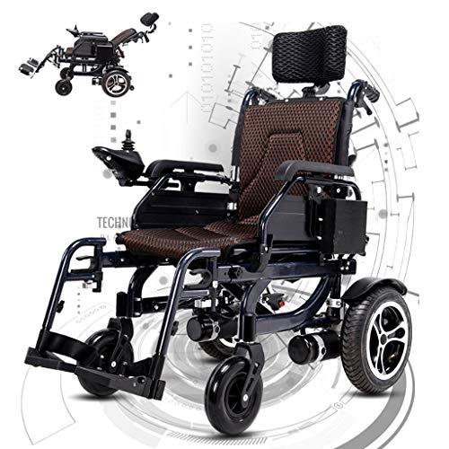 AMINSHAP Elektrischer Hochleistungsrollstuhl, Mit Kopfstütze, Voll Liegender Älterer Automatischer Rollstuhl Elektromagnetische Bremse 300W * 2 Dual Motor 360 ° Joystick 26A Lithiumbatterie Schwarz