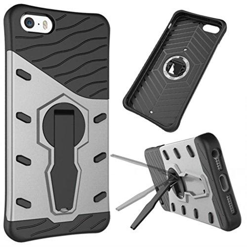 KaiTelin Schutzhülle Apple iPhone 7 plus Hülle - Doppelschicht Kombination Harte Schale 360° Drehen Ständer Fall Stoßfest für Apple iPhone 7 plus - Silber Silber