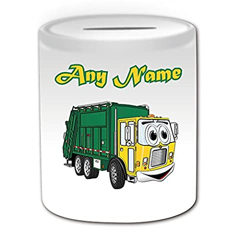 Personalised Gift - Smiley Garbage Truck Money Box (Transport Design Theme, White) - Rubbish Dustcart Bin Trash Waste Scrap Recycle Lorry Van Refuse Collection Vehicle Wagon HGV Driver Rubbish Dusbin Refuse Waste Collection Recycle