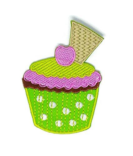 Grün Sweet Cupcake Dessert Cartoon bestickt Nähen Eisen auf Patch Cartoon Nähen Eisen auf bestickte Applikation Craft handgefertigt Baby Kid Girl Frauen Tücher DIY Kostüm Zubehör