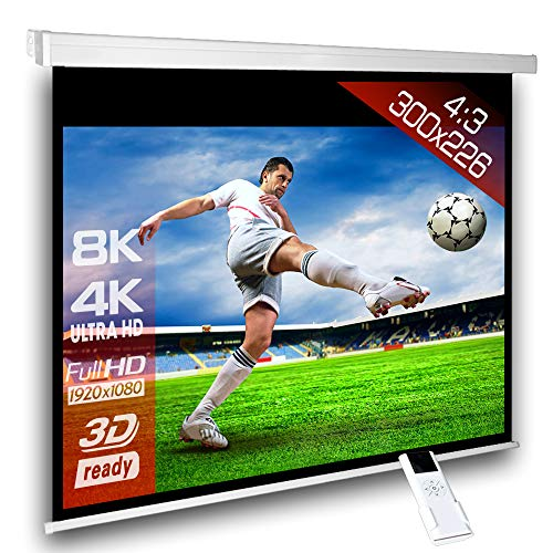 Écran de projection motorisé 300 x 225 cm SlenderLine Plus, Format 4:3 FULL-HD 3D 4K 8K, Écran de projection électrique pour vidéoprojecteur, Home Cinema, pour Mur ou Plafond, avec Télécommande