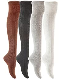 Lian estilo de vida de la mujer 4 pares calcetines de algodón rodilla alta Tamaño 7
