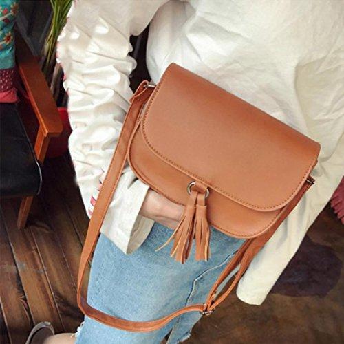 JERFER Damen Mode Weise Süßigkeit Quaste Kuriertaschen Weibliche Handtasche Schultertasche Bag Braun