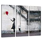 Set of 3 Large Banksy Canvas Wall Art Prints UK Red Balloon Girl 3050 by Wallfillers