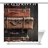 Luancrop Vintage Pile Anciennes valises sur Shabby Fond Noir Imperméable Rideau de...