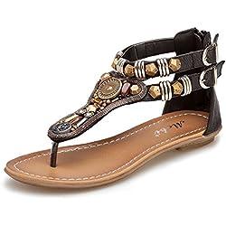 Minetom Mujer Verano Roman T-Correa Sandalias Diamante De Imitación Chanclas Sólido Cremallera Plana Con Tanga Zapatos Negro EU 35