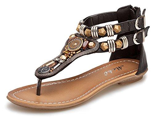 Minetom Femme Rétro T Strap Talon Bas Sandales Chaussures Été Fermeture éclair Peep Toe Tongs Flip Flops Noir