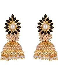 Desi Gurl Traditional Bollywood Style Jhumka Pearl Jhumki Earrings For Women (Nb-94)