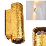 Wandleuchte Up & Down Nuovodi in Goldfarben – Keramik Leuchte mit 2 Lichtkegeln an der Wand - Moderner Wandstrahler für Wohnzimmer - Esszimmer Lampe - Flurlampe – 2x GU10-Fassung mit 50 Watt