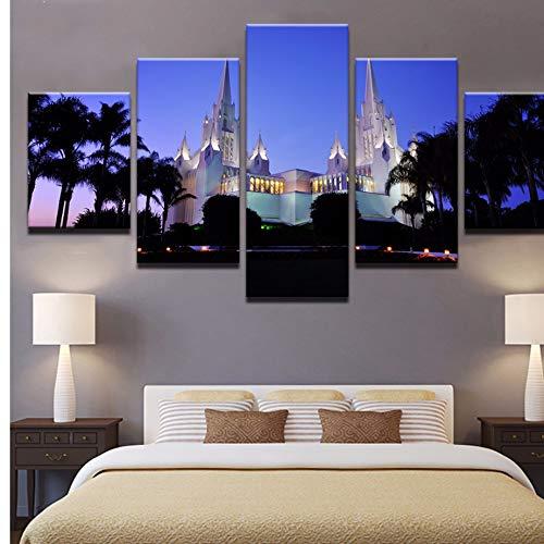 (xzfddn 5 Panels San Diego Kalifornien Tempel Bild Leinwand Gedruckt Nightscape Poster Moderne Wandkunstausgangsdekor Für Wohnzimmer Kunstwerk)