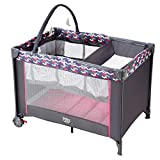 COSTWAY Portable Baby Travel Cot, 2 in 1 Design as Bassinet Bed & Activity Play Center, Foldable Frame with Mattress, Storage Pocket, Carry Bag, Cute Toys, Safety Arc Corner, Wheels with Brakes