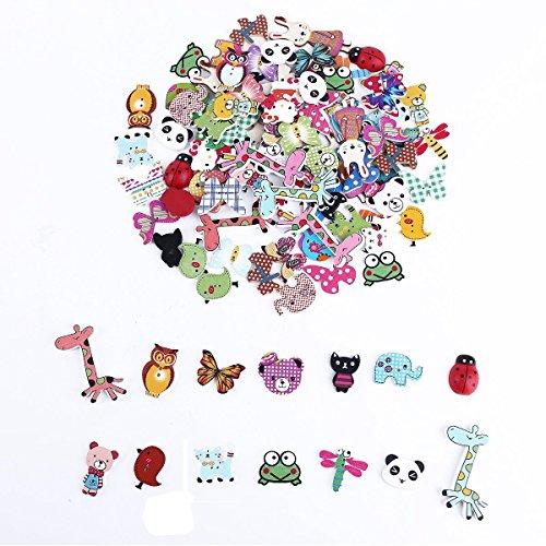 Kanggest 100Pcs Botones de Madera Multicolores del Animal de la Historieta para el Arte de Costura DIY Scrapbooking