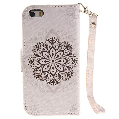 iPhone SE Coque Blanc - Rabat Style Apple iPhone 5S 5 Portefeuille Etui Prime PU Cuir Etui de protection Divers Original Motif Panda blanc