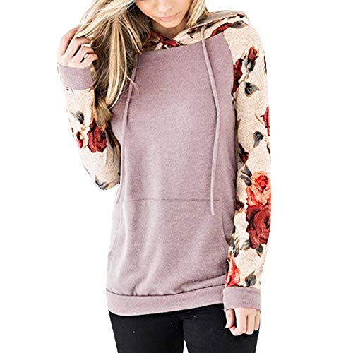 MRULIC Damen Bluse Nahtfarbe Sweatshirt Langarm Kurzarm Pullover Tops Sport Shirt Fashion Streetwear Stickerei Drücken Hoodies Pullover(Rosa,2XL)