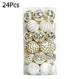 Scdincier - Bolas Decorativas para árbol de Navidad (24 Unidades), Color Blanco y Dorado