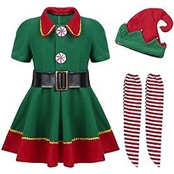 YiZYiF Disfraz Infantil para Navidad Unisex Niños Dsifraces de Elfo Traje de árbol Vestido Top Blusa + Sombrero Disfraz de Santo Equipo del Duende 4-14 Años Verde Niña 8-10 años