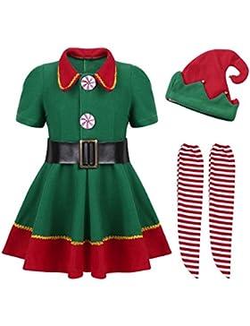 iiniim Süßes Baby Mädchen Bekleidungsset Weihnachtskleid Langarm Kleidung+Gestreift Hose+Weihnachtsmütze