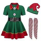 iEFiEL Weihnachtskostüm Kinder Jungen Mädchen Kostüm Weihnachten Outfits Weihnachtskleidung Elf Kostüm für Karneval Fasching Cosplay Party Kostüm Mädchen Grün 98-104