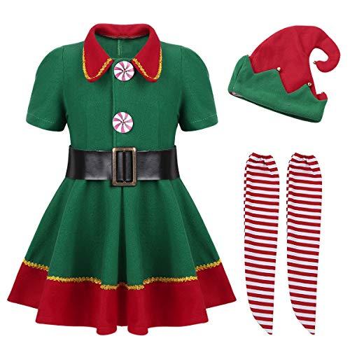 (Tiaobug Weihnachtskostüm Kinder Weihnachtself Kostüm Jungen Mädchen Weihnachten Outfit Kleid/Tops mit Hut Gürtel Strumpfhosen Set für Cosplay Halloween Party Kostüm Grün Kleid 152-164)