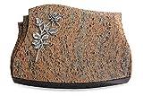 Generic Grabplatte, Grabstein, Grabkissen, Urnengrabstein, Liegegrabstein Modell Liberty 40 x 30 x 7 cm Raw Silk-Granit, Poliert inkl. Gravur (Aluminium-Ornament Rose 13)