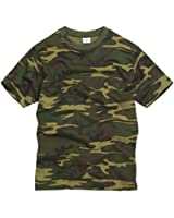 100% Cotton Military Style T-shirt - Woodland Camouflage