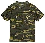 Army and Outdoors 100% Baumwolle Militärstil T-Shirt - Waldland Camouflage - Waldland, S