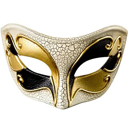 Zhuhaijq Venezianische Masken Maskerade Halbe Gesichtsmaske - Unisex Vintage geknackt Stein dekorative Halloween Kostüm Party Masken