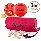 BELISY Hundespielzeug Set I Hundeball, Dentalball & Futterdummy I 7cm I Rot