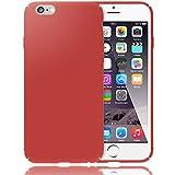 NALIA Handyhülle für iPhone 6 6S, Dünnes Hard-Case Schutz-Hülle Matt, Ultra-Slim Cover Etui leichte Handy-Tasche, Ultra-Slim Phone Backcover Skin Bumper für Apple iPhone-6S 6, Farbe:Rot