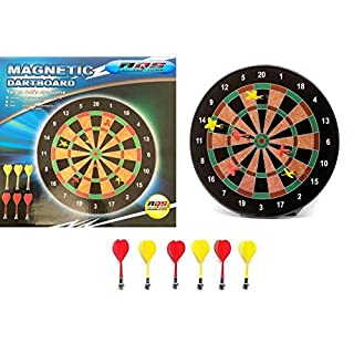 AQS INTERNATIONAL 16'' Magnetic DartBoard With 6 Darts Party Fun Game Set Gift Safety Dart Board Indoor / Outdoor Kids Family Friends Game