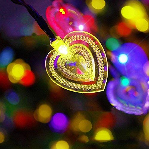 Guirlande Lumineuse,KINGCOO imperméable 15,7ft / 4,8M 20LED double coeur-shapped solaire alimenté feux de fées de Noël pour le jardin de la maison Jardin Party arbre de Noël