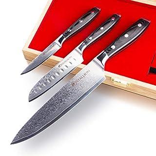 Stallion Lot de 3couteaux damassés:Couteau de chef, petit couteau Santoku et couteau d'office en acier de Damas dans un beau coffret cadeau, le cadeau idéal pour tous les amateurs de beaux couteaux