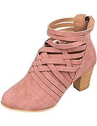 Sandalias de mujer verano 2018, ❤ Ba Zha Hei sandal de mujer con Botines de tacón con cremallera en la espalda…