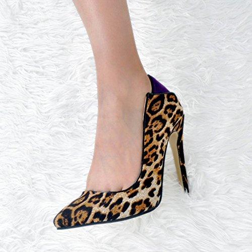 Kolnoo Damen Faschion 100mm Bogen Rückseiten Beleg auf Absatz Partei Abschlussball Pumpen Schuhen Leopard
