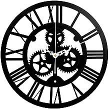 Soledi Reloj de Pared Engranaje Hueca Estilo Mecánico 40cm (Negro)