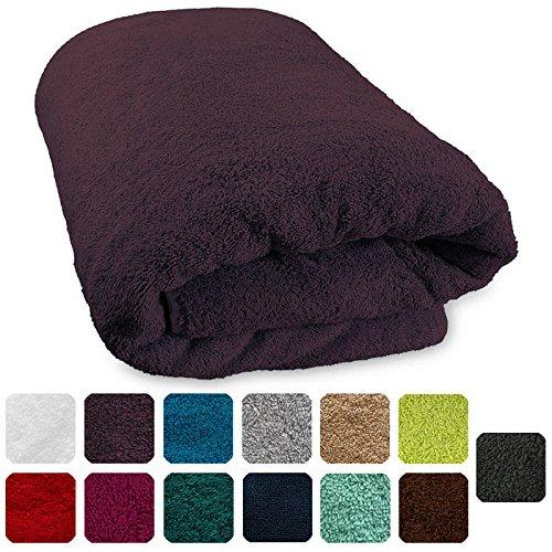 Lanudo® XXL Luxus Sauna-Handtuch 600g/m² Pure Line 80x200 cm mit Bordüre.100{8b137f380bebfa888acff5db03f76f3fdf87390e2a15efa19ccc7ce5ec9227ed} feinste Frottier Baumwolle in höchster Qualität, Saunatuch, Strandtuch, Farbe: Violett/Lila/Bordeaux