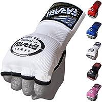 Farabi Guantes infantiles de entrenamiento sin dedos para gimnasio, fitness, boxeo MMA y Muay Thai, color blanco, tamaño S/M