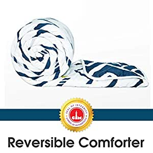Divine Casa Microfibre Comforter/Blanket/Quilt/Duvet Lightweight, All Weather, Reversible Single Comforter, Twilight Blue and White - Abstract (110 GSM)